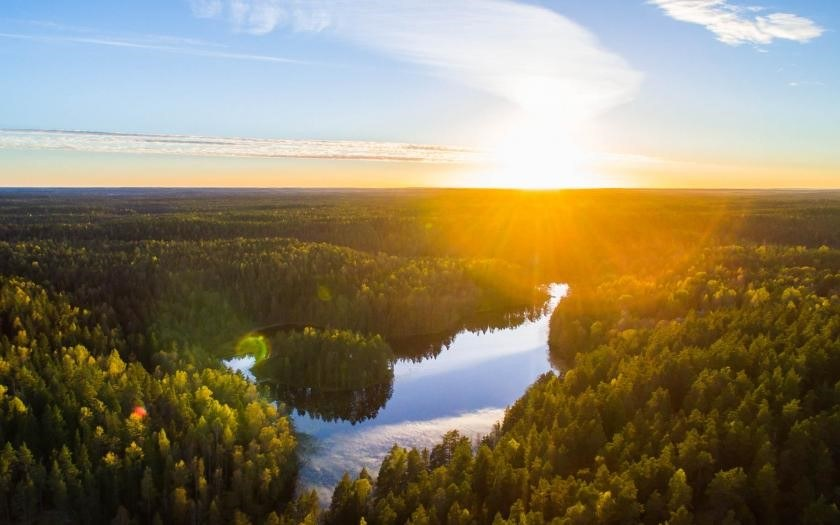 A landscape from Nuuksio national park in a sunny day.