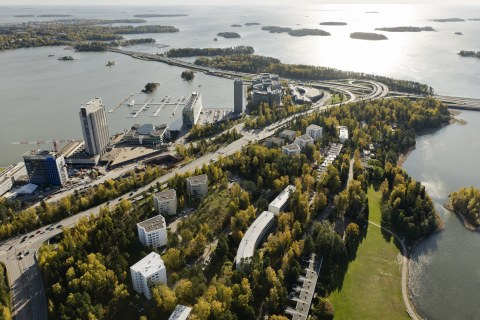 Keilaniemi pictured from above on a sunny day