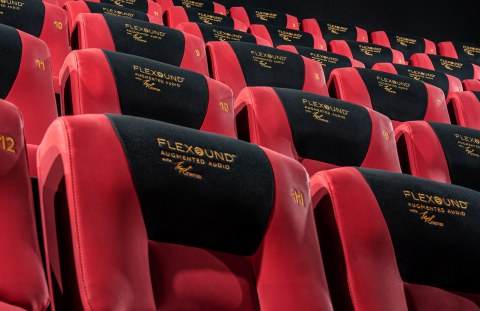 Red-black seats in a movie theatre.