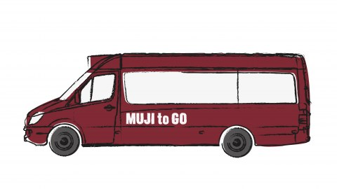 Cartoon-like picture of a red mini-bus with MUJI to Go written in white in the body of the vehicle.